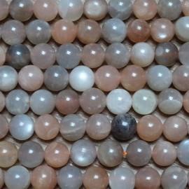 Korálky - MĚSÍČNÍ KÁMEN Ø 8 mm (50 korálků, mix barev)