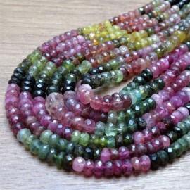 Korálky - TURMALÍN (mix barev), fazetované čočky vel. 6 x 4 mm