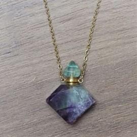 Fluorit - krystalový aroma difuzér (náhrdelník)