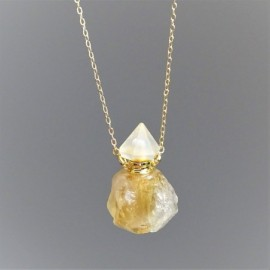 Citrín - krystalový aroma difuzér (náhrdelník)